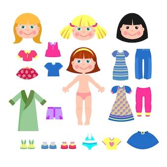 Set kleren voor de papieren poppen waren meisjes