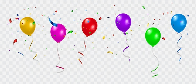 Set kleur ballonnen, confetti concept ontwerp sjabloon vakantie happy day, achtergrond viering vectorillustratie.