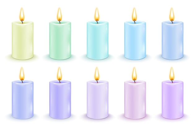 Set kleur cilindrische kaarsen met brandende vlammen. realistische vectorillustratie.