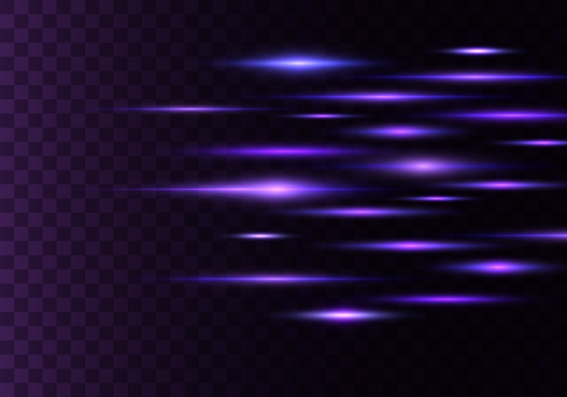 Set kleur horizontale stralen, lens, lijnen. laserstralen. blauwe, paarse lichtgevende abstracte sprankelende bekleed transparante achtergrond. lichte fakkels, effect.