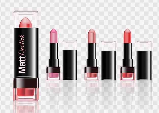 Set kleur lippenstiften. set geïsoleerd op een witte achtergrond, rgb-vector gemaakt met verloopnet