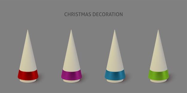 Set kleur metallic kerstbomen.