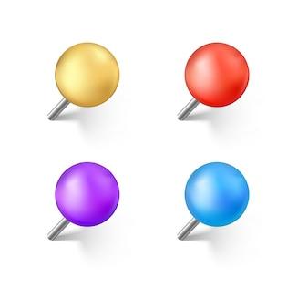 Set kleur push pins met schaduw. realistische kantoornaald. geïsoleerd op witte achtergrond