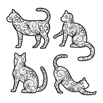 Set kleurboekpagina met bloemendecoratie kat