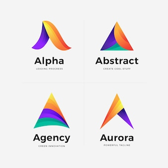 Set kleurovergang een logo sjabloon