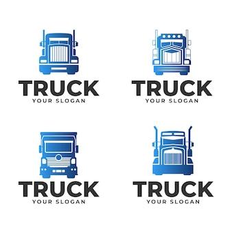 Set kleurovergang gekleurde vrachtwagenlogo's