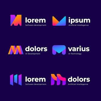 Set kleurovergang m logo sjablonen