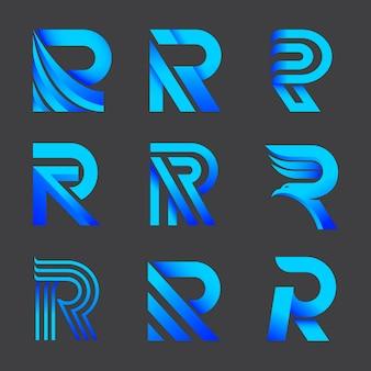 Set kleurovergang r logo sjablonen