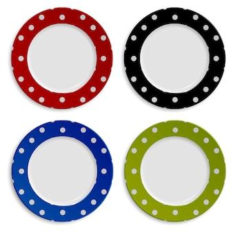 Set kleurplaten met polka dot patroon op wit wordt geïsoleerd