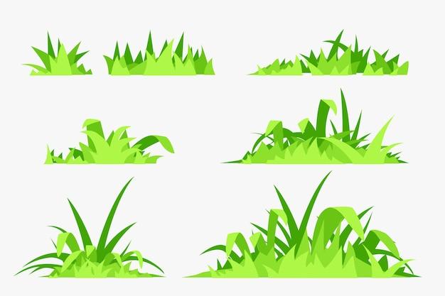Set kleurrijke groene gazon gras elementen eenvoudige stijl geïsoleerd