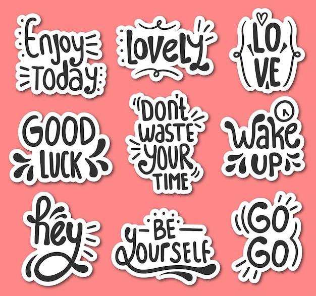 Set kleurrijke handgetekende motiverende belettering stickers