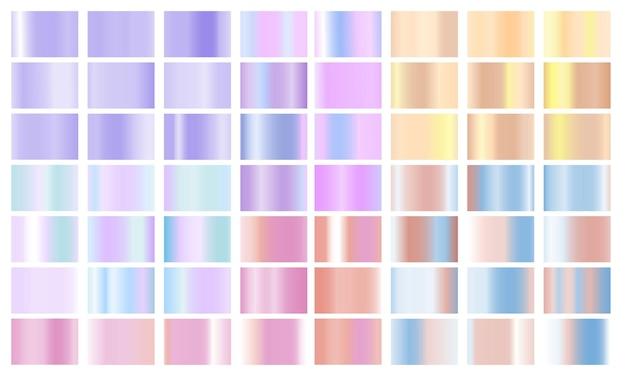 Set kleurrijke pastel kleurverloop chrome kleur folie textuur achtergrond