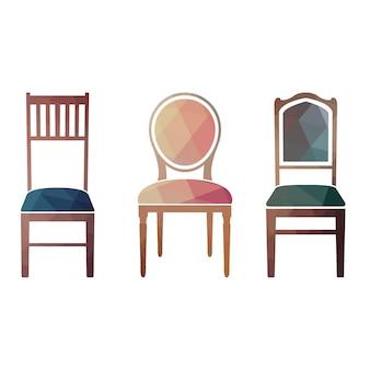 Set kleurrijke retro stoelen