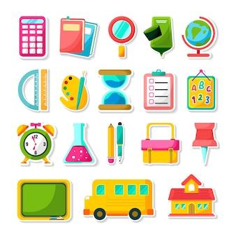 Set kleurrijke schoolspullen