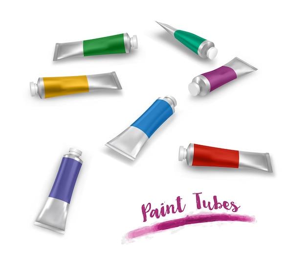 Set kleurrijke verftubes
