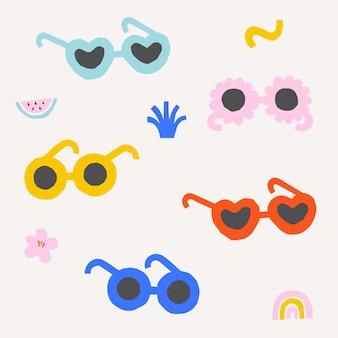 Set kleurrijke zonnebrillen zomerfeestaccessoires papier gesneden illustratie Premium Vector