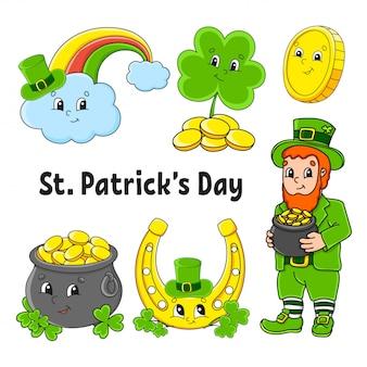 Set kleurstickers voor kinderen. kabouter met een pot met goud, gouden munten, klaver, gouden hoefijzer, magische regenboog. st. patrick's day.