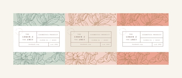 Set klompen voor cosmetica met label sjabloonontwerp