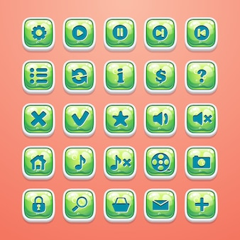 Set knoppen voor glamoureuze game-interface en webdesign