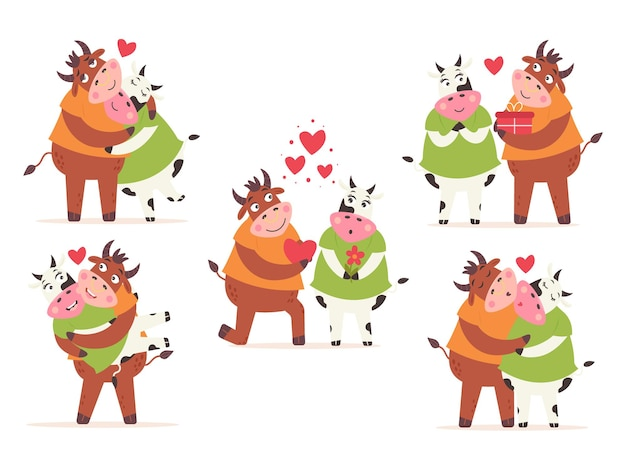 Set koe stier paar liefde