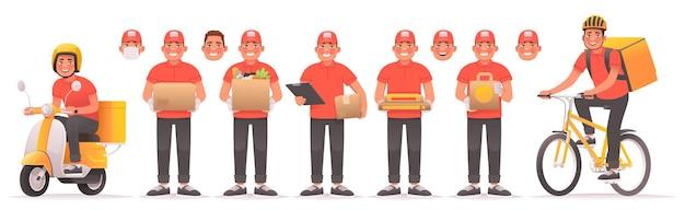 Set koeriers-tekenset voor mobiele applicatie voedsel- en goederenbezorgservice