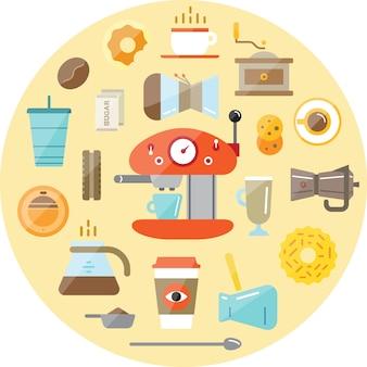 Set koffie elementen en koffie accessoires.