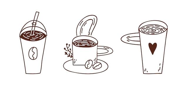 Set koffie vectorillustraties in verschillende container donkere hand getrokken lijn doodle stijl