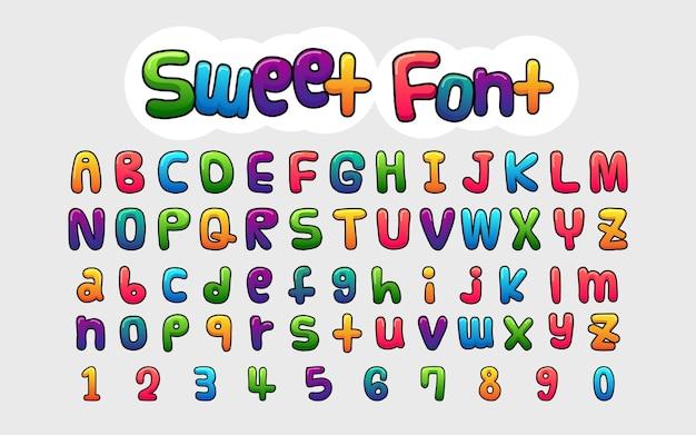 Set komische stijl alfabetten en cijfers