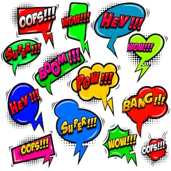 Set komische stijl tekstballonnen met zinnen. ontwerpelement voor poster, kaart, banner, embleem, teken. vector illustratie