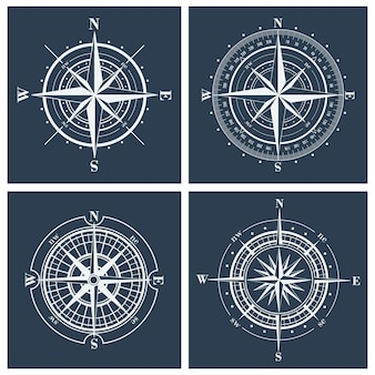 Set kompas rozen of windroses illustratie