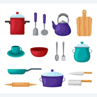 Set kookgerei ontwerpsjabloon voor thuis en restaurant