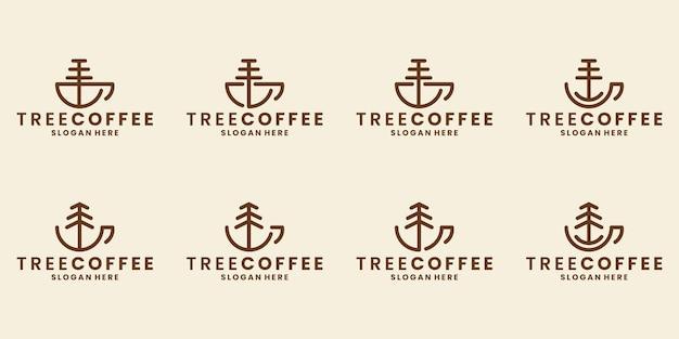 Set kopje koffie met boom concept logo ontwerp