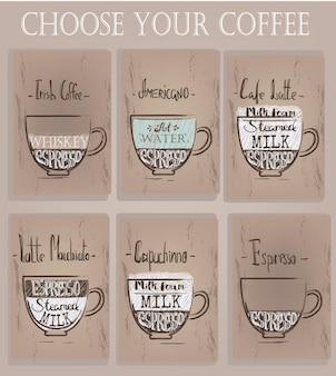 Set kopjes met verschillende koffie. vector illustratie