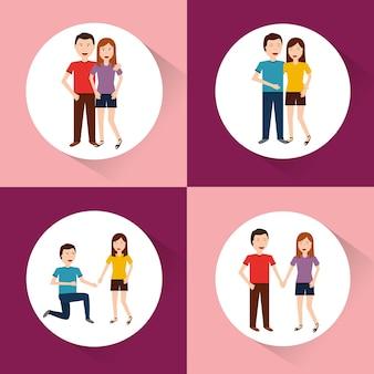 Set koppels van karakters in verschillende situaties en houdingen