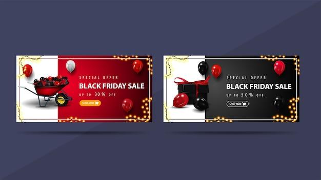 Set kortingen banners voor black friday met kruiwagen en cadeautjes. rode en zwarte kortingenbanners