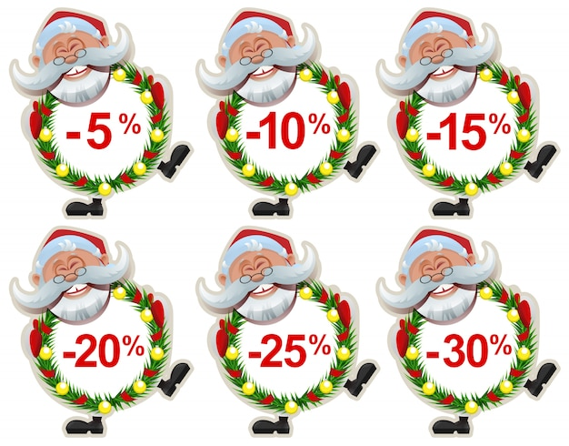 Set kortingslabel santa claus christmas-krans van dennentakken