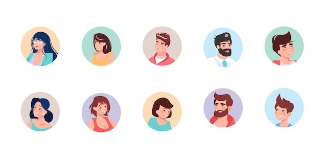 Set lachende platte stripfiguren avatars van verschillende leeftijden