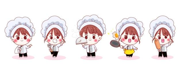 Set lachende schattige chef-kok in verschillende houdingen cartoon afbeelding