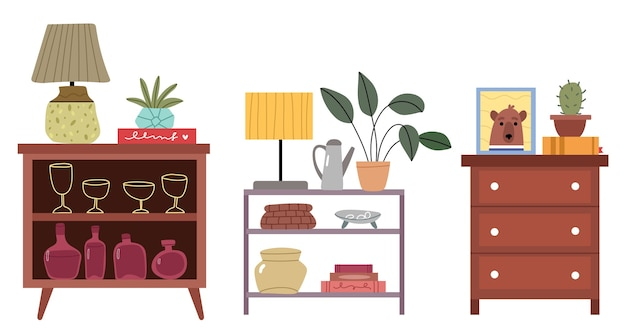 Set ladekasten in verschillende stijlen.