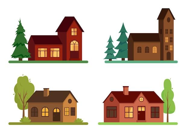 Set landhuizen met bomen op witte achtergrond