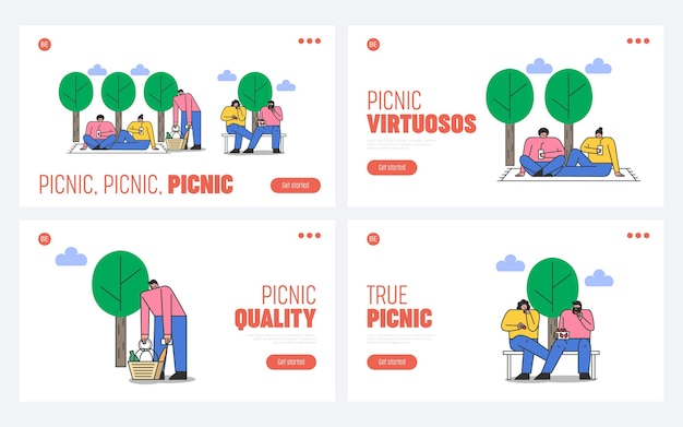Set landingspagina's voor parkpicknicks voor website. mensen die rusten in frisse lucht