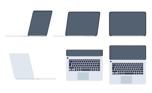 Set laptops in vlakke stijl. uitzicht vanaf verschillende kanten. gadget met leeg donker scherm. grijze moderne draagbare computer. apparatuur voor zaken, werk en studie. vector illustratie.