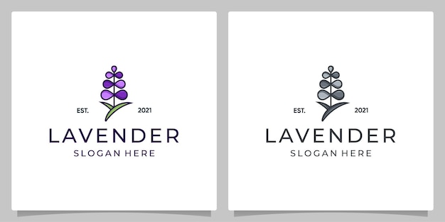 Set lavendel bloem vector ontwerpsjablonen. logo in trendy lineaire stijl en full colour.