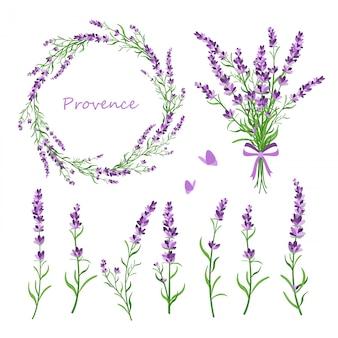 Set lavendel bloemen, boeket, krans en elementen van ontwerp voor wenskaart op witte achtergrond in retro vlakke stijl, provence concept.