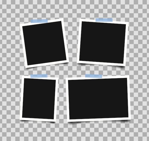Set lege fotolijsten met plakband geïsoleerd op transparant.