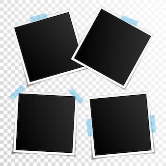 Set lege fotolijsten met plakband