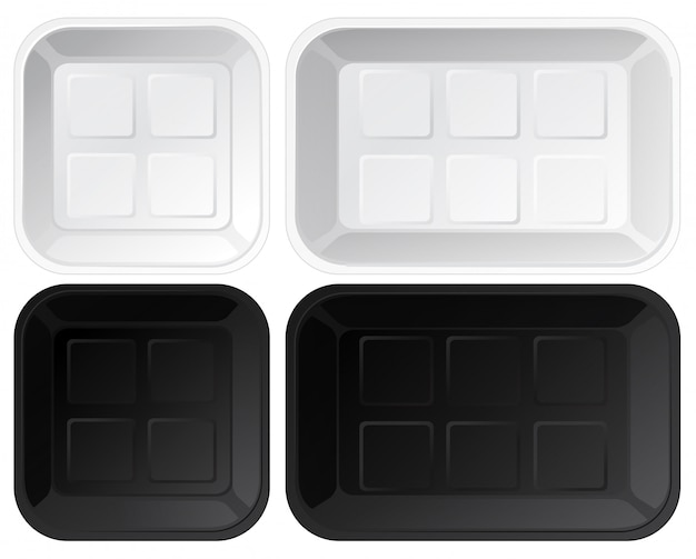 Set lege plastic trays