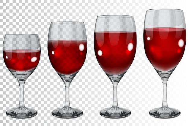 Set lege transparante glazen bekers van verschillende groottes met rode wijn