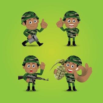 Set legersoldaten in uniform met verschillende actie