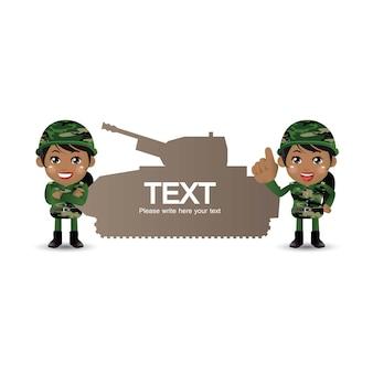 Set legersoldaten vrouw in uniform met verschilactie